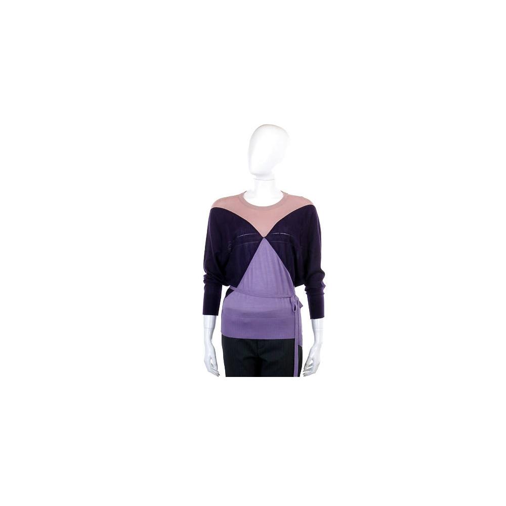 PULLAROUND 粉紫幾何圖羊毛針織上衣(附綁帶/70%CASHMERE)