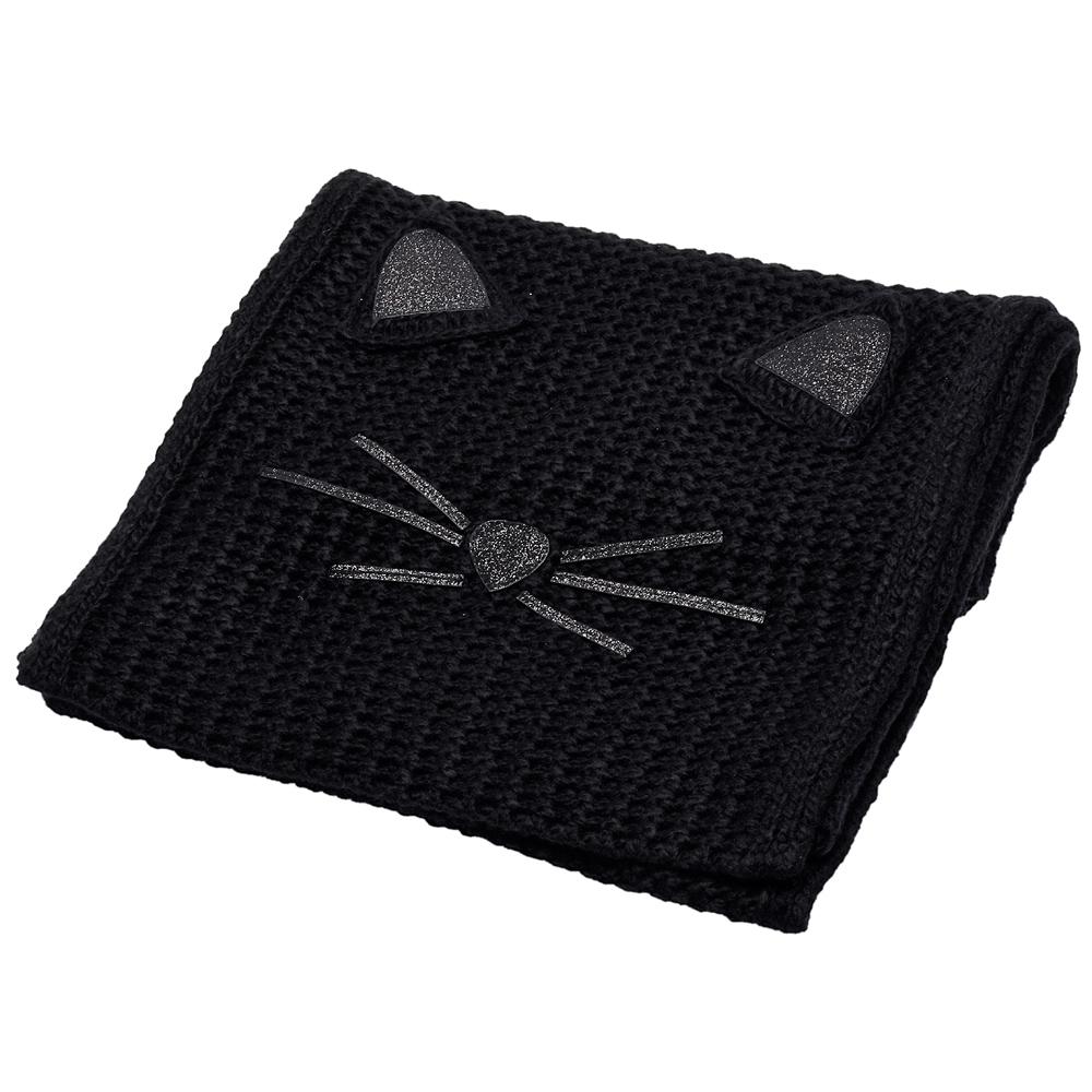 KARL LAGERFELD 經典Fun Cat系列貓咪圖案針織圍巾(黑)