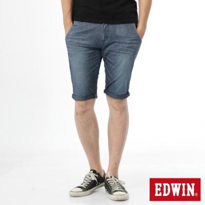EDWIN 迦績褲 涼爽PK牛仔短褲-男-石洗藍