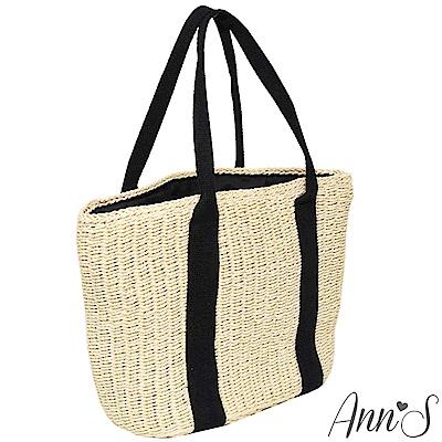 Ann'S野餐吧-黑色雙織帶竹編托特包-米
