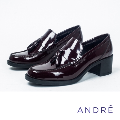 ANDRE-學院風流蘇粗跟高跟鞋-氣質酒紅