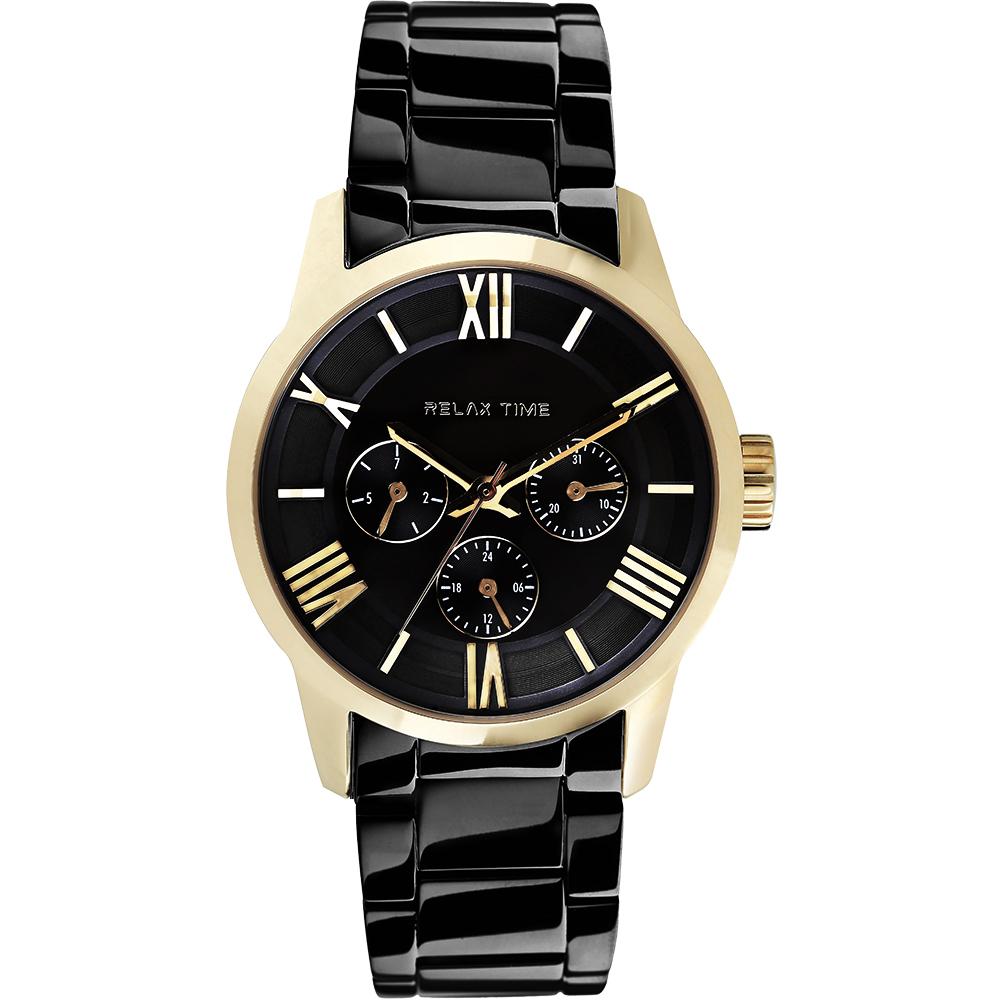 RELAX TIME RT65 羅馬情人日曆腕錶-金框x黑/45mm