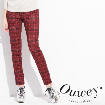 OUWEY歐薇-變化格紋窄管褲-共2色