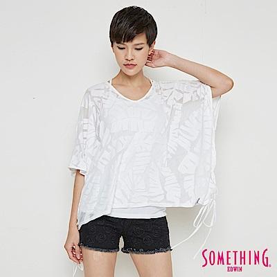 SOMETHING 葉脈燒花寬版造型T恤-女-白色