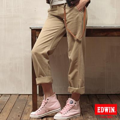 【EDWIN】KHAKI生活態度卡其休閒褲-女款(淺卡其)