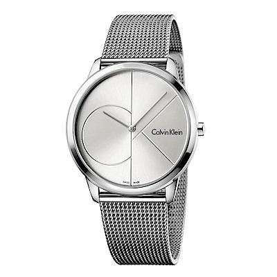 CK CALVIN KLEIN Minimal 系列cK Logo 錶盤米蘭帶銀面手錶-40mm