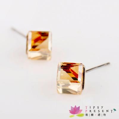 微醺禮物 施華洛世奇水晶元素 奇異香檳方塊6mm 耳環