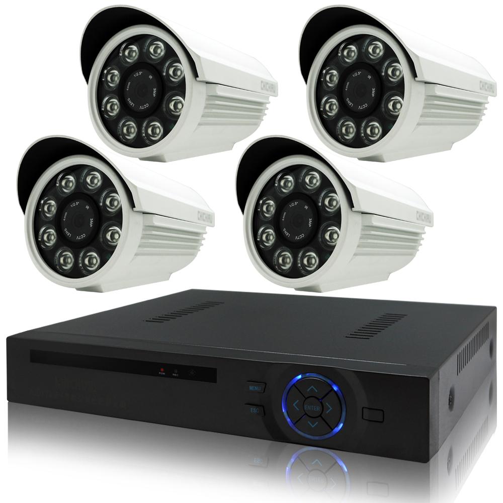 奇巧 4路AHD高清遠端監控套組(720P SONY八陣列130萬攝影機x4)