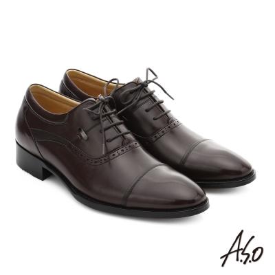 A.S.O 尊榮青紳 小牛皮綁帶奈米紳士皮鞋 咖啡色