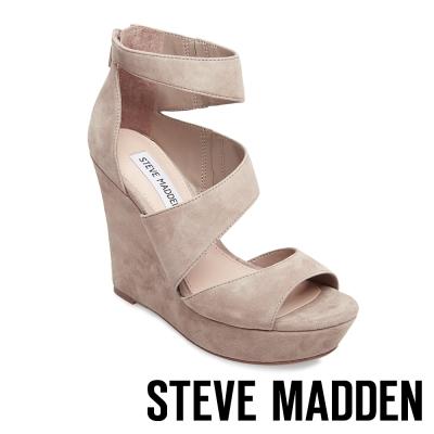 STEVE MADDEN-ESSEX 麂皮厚底防水台楔型涼鞋-灰色