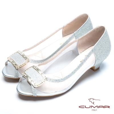 CUMAR浪漫美學 透視裸膚網布魚口鞋-銀