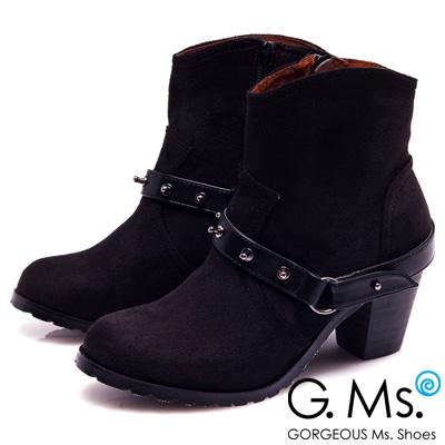 G.Ms.溫暖魅力-螺絲釘皮帶繞踝拉鏈粗跟短靴-注目黑