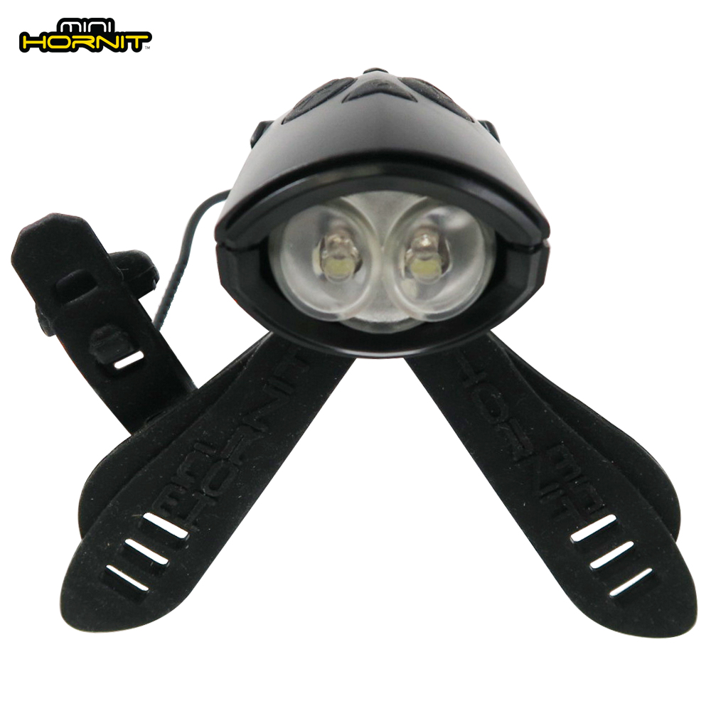 英國MINI HORNIT 蜜蜂燈鈴鐺-自行車滑板車嬰兒推車用LED車前燈+電子喇叭-黑色