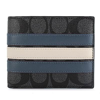 COACH 經典LOGO PVC皮革拼接藍白條紋短夾(附可拆式證件夾)-藍灰