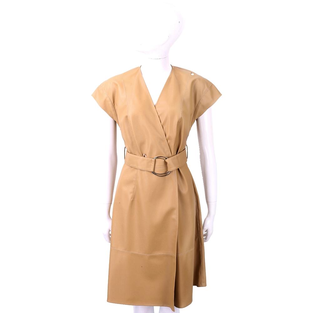 ELISABETTA FRANCHI 交叉領金屬環細節棕色落肩仿皮洋裝