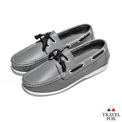 Travel Fox(男) 亞歷士 全牛皮休閒帆船鞋 - 灰黑配