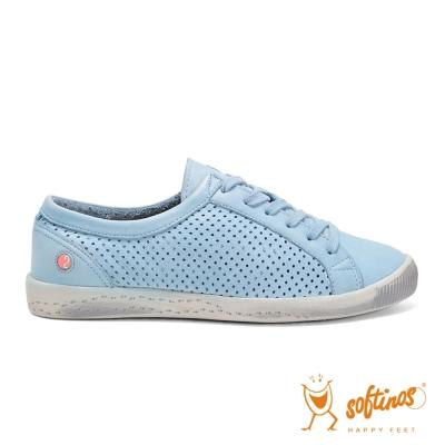 SOFTINOS (女) 微風甜甜 網狀牛皮透氣綁帶平底休閒鞋 - 天空藍