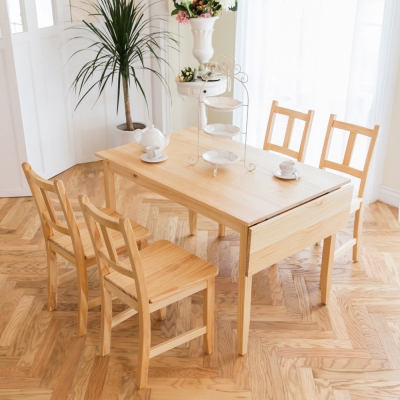 CiS自然行實木家具- 南法單邊延伸實木餐桌椅組一桌四椅 74*142公分/原木色