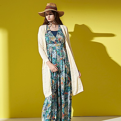 清新日系鏤空羅紋精緻舒棉開襟長版針織罩衫外套-米