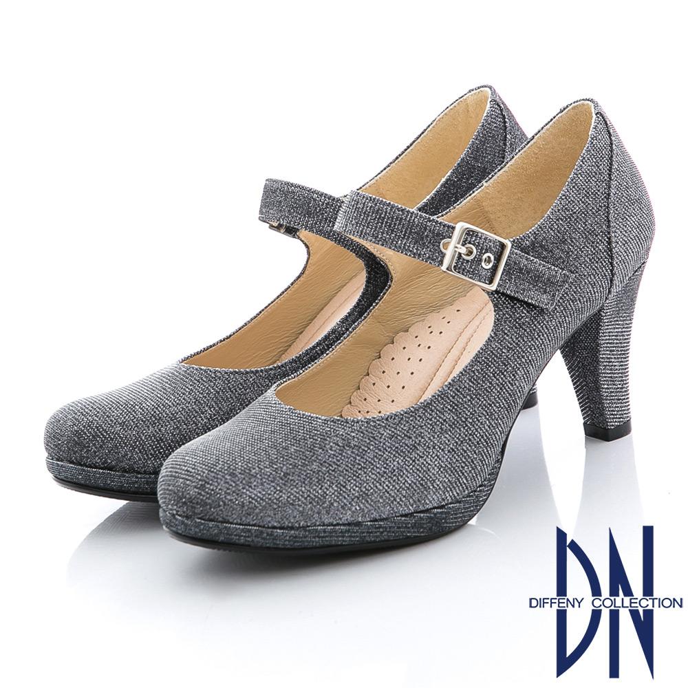 DN 時尚耀眼 MIT閃耀金蔥瑪莉珍款晚宴鞋 銀灰