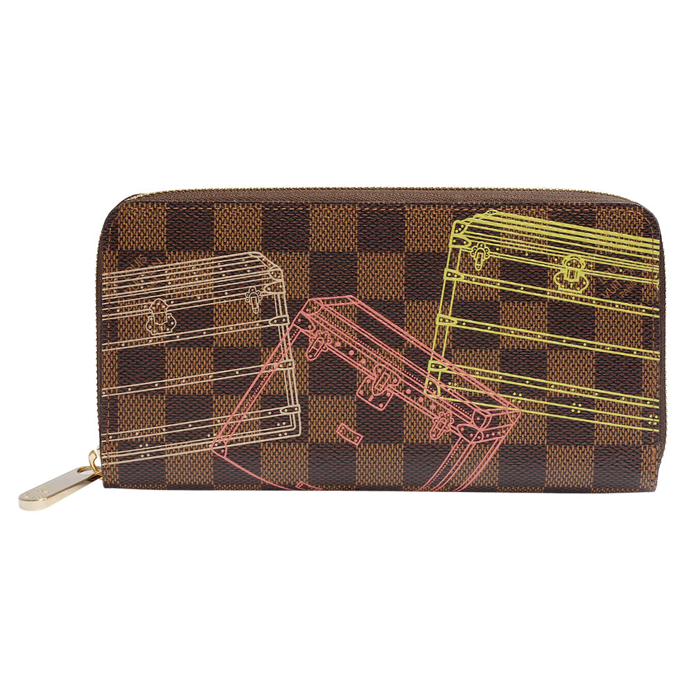 LV N63026 經典Damier Ebene棋盤格行李箱繪圖多夾層拉鍊長夾(粉紅)