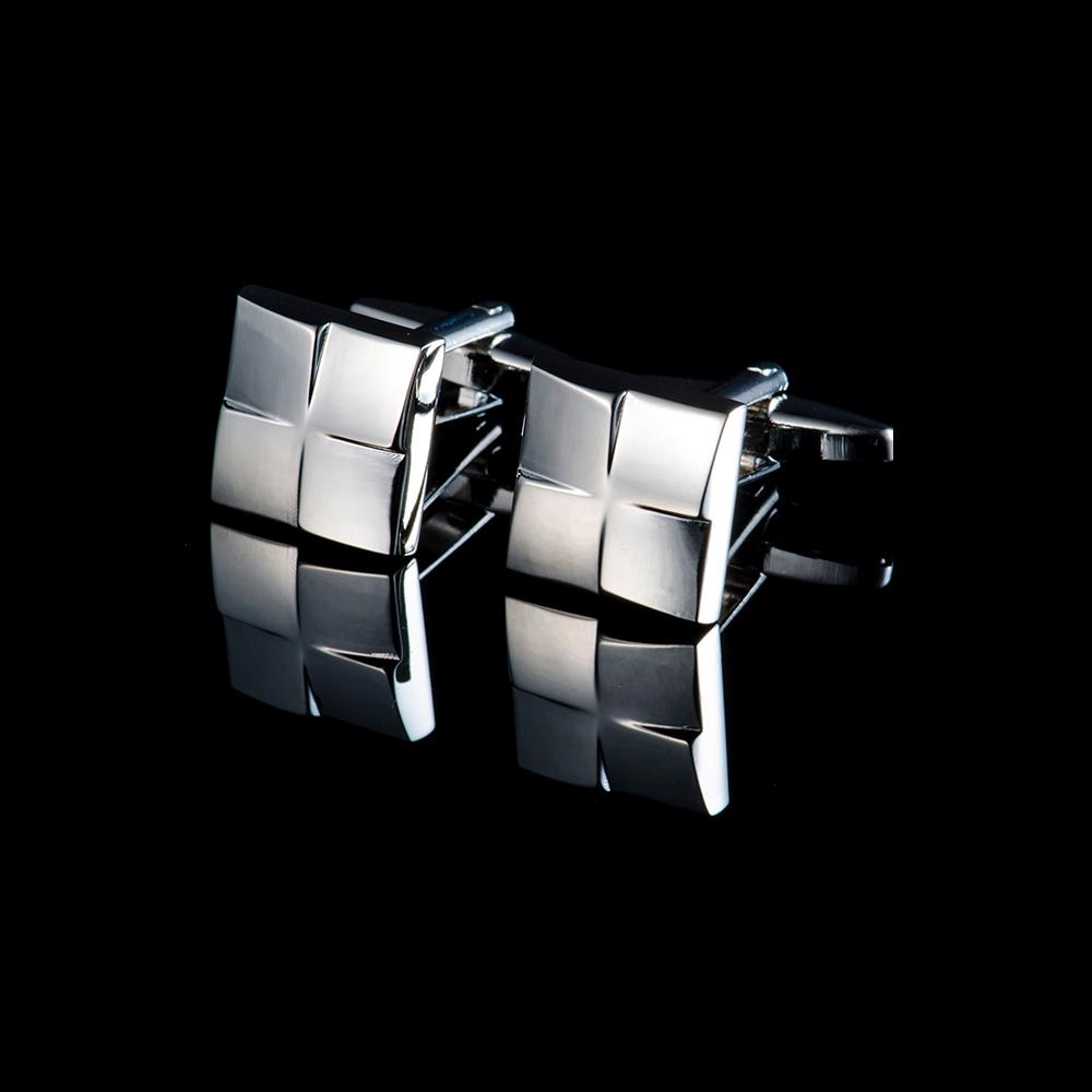 拉福   高檔立方塊紋襯衫袖扣(銀色)