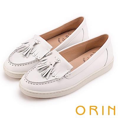ORIN 經典復古 俏皮流蘇牛皮休閒平底鞋-白色