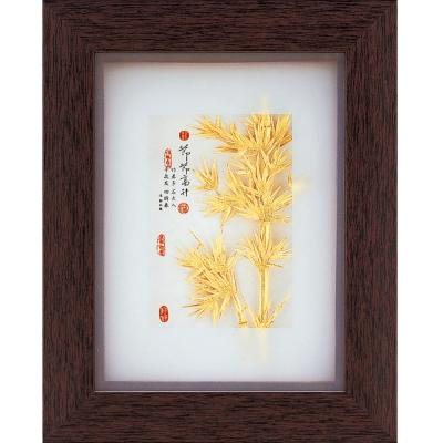 開運陶源  純金古香系列【竹報平安】金箔畫