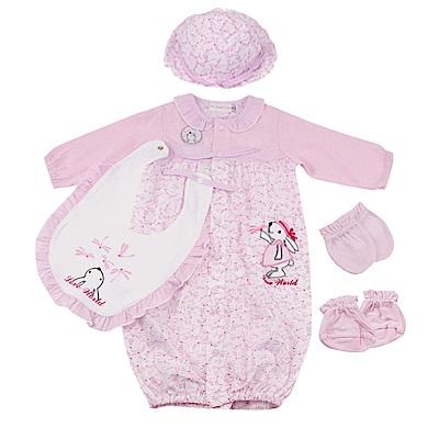 愛的世界 純棉小兔蜻蜓荷葉領長袖兩用嬰衣5件組禮盒/3M~1歲