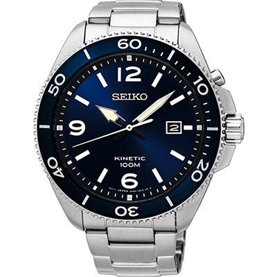 SEIKO 精工 KINETIC 衝鋒突擊人動電能腕錶(SKA745P1)-藍/44mm