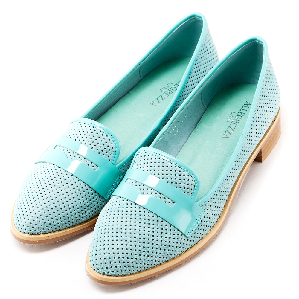 ALLEGREZZA‧真皮‧仿釘面牛麂皮樂福鞋 藍綠