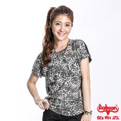 BOBSON 女款豹紋接雪紡短袖上衣(黑23112-01)