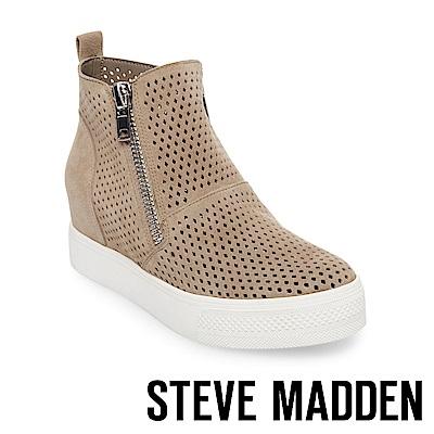 STEVE MADDEN-WEDGIE-P 麂皮簍空內增高休閒鞋-棕色