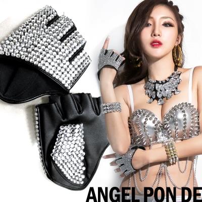滿滿亮鑽表演造型仿皮半指手套(黑)-天使波堤