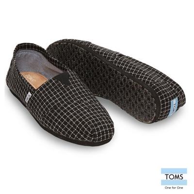 TOMS 格紋簡約帆布懶人鞋-男款(黑)