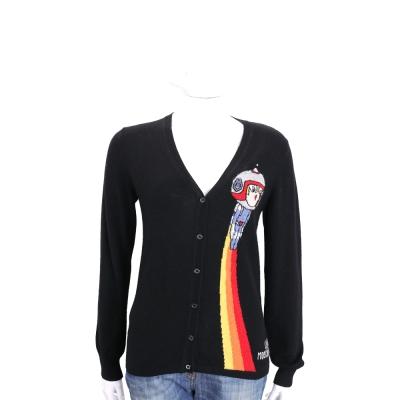 LOVE MOSCHINO 黑色太空娃娃混紡羊毛針織外套