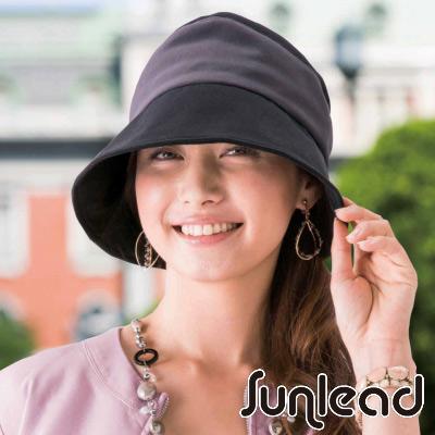 Sunlead 防曬護髮輕量可塑型折邊遮陽帽 (黑色x銀黑)