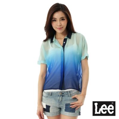 Lee 短袖襯衫(漸層)-女-藍