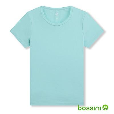 bossini女裝-素面彈性圓領T恤01藍綠