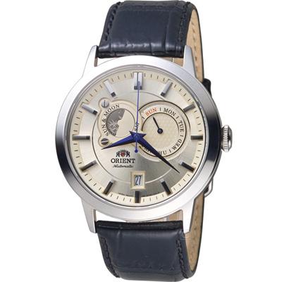 ORIENT 東方錶 SUN&MOON系列 多功能機械錶-米色/42mm