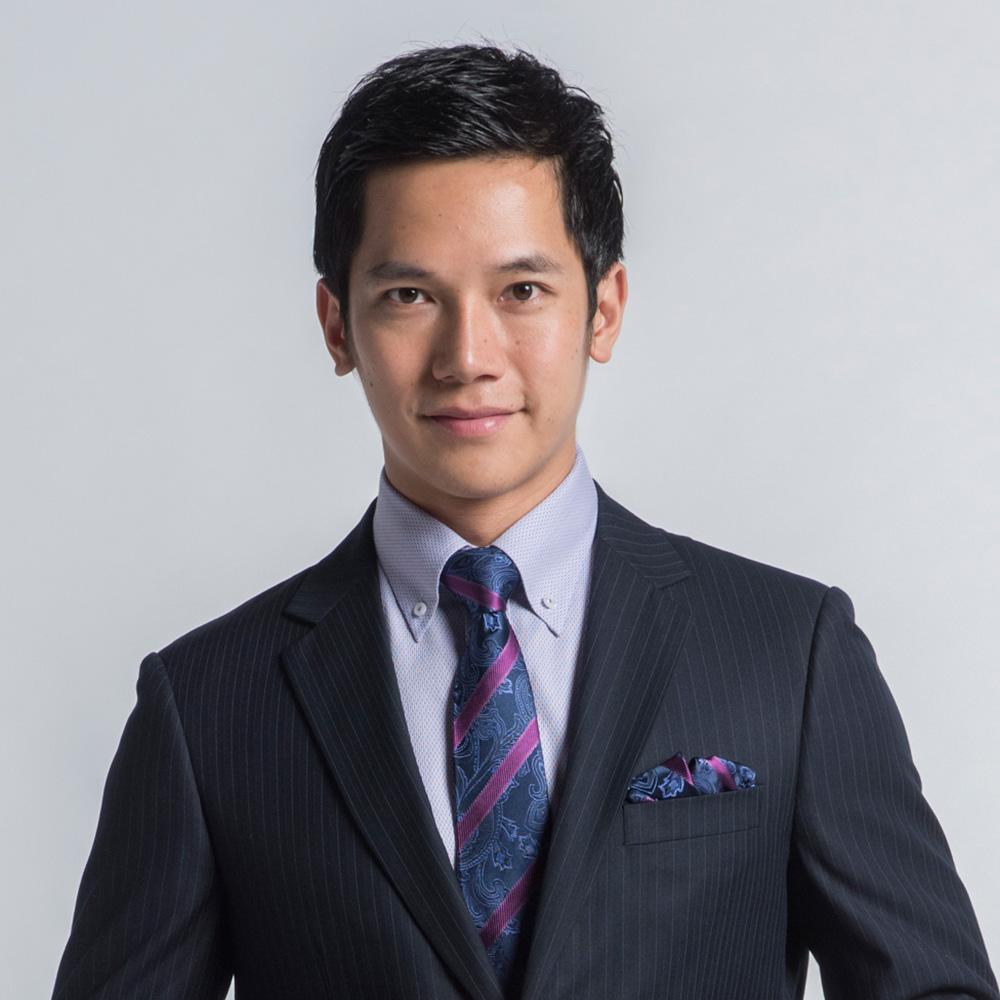 極品西服 100%絲質口袋方巾_藍紫斜紋