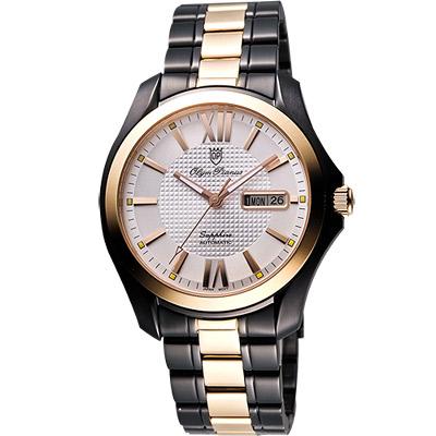 Olympianus 時尚羅馬機械腕錶-銀x玫塊金框/40mm