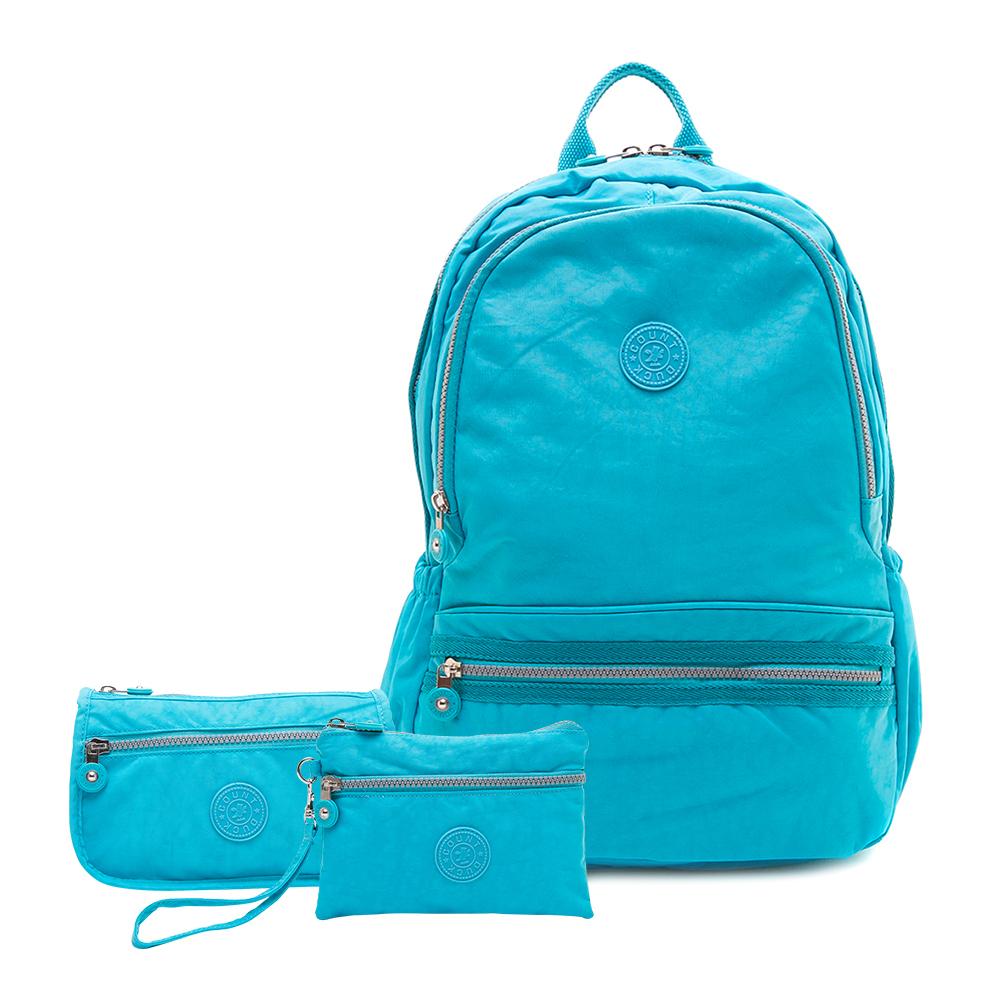 COUNT DUCK 美系悠活輕量運動型後背包CD-012 (超值三件組) 天空藍