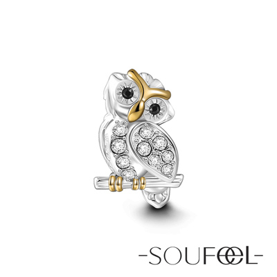 SOUFEEL索菲爾 925純銀珠飾 睿智貓頭鷹 串珠