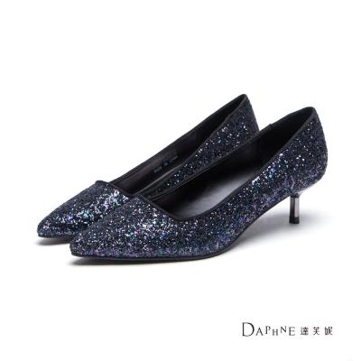 達芙妮DAPHNE 高跟鞋-金蔥亮片尖頭中跟鞋-黑