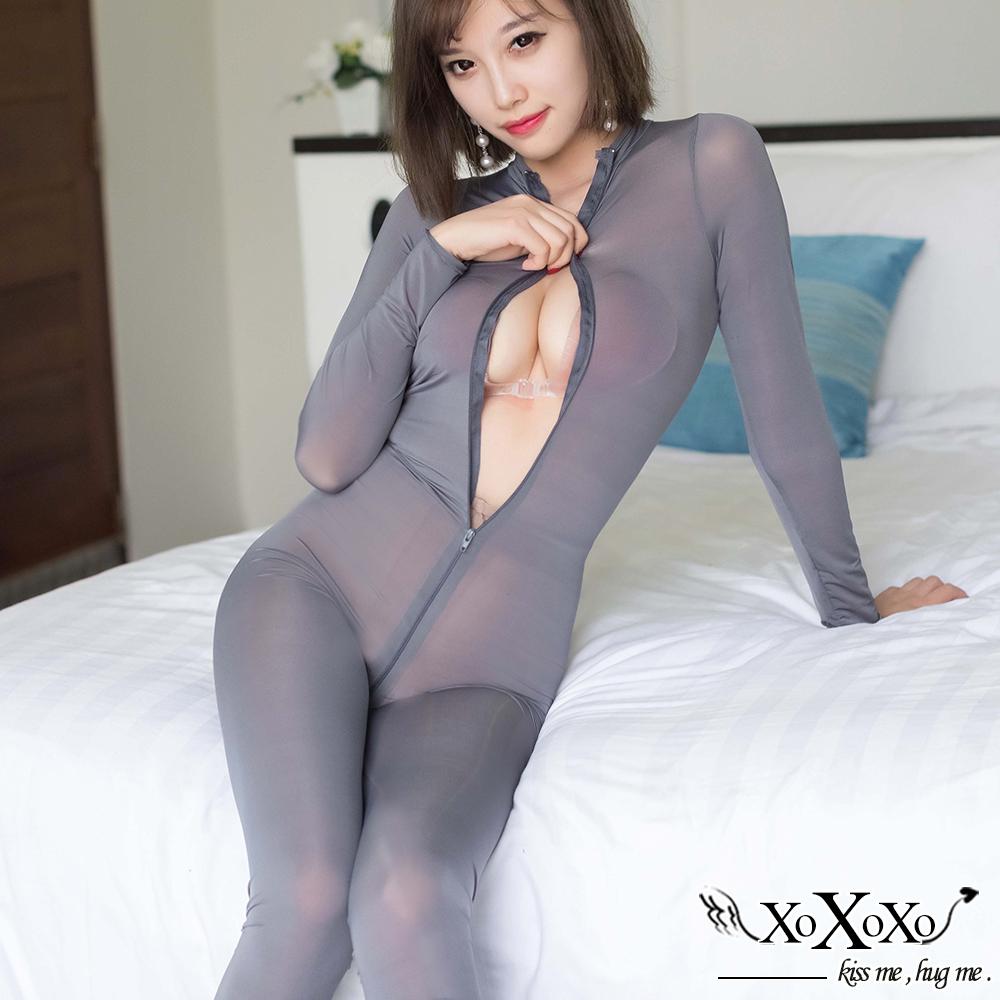 情趣睡衣 透視機密雙開拉鏈連身衣 低調灰 XOXOXO