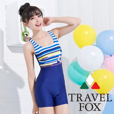 夏之戀TRAVEL FOX 比基尼泳衣 度假風連身四角泳裝 藍色