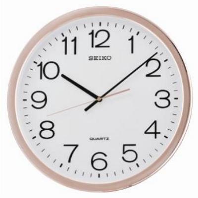 SEIKO 精工 經典數字恆動式秒針靜音掛鐘-白x玫瑰金框/40cm