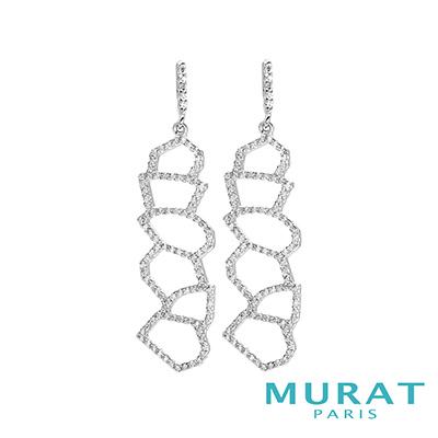 MURAT PARIS米哈巴黎 重疊幾何晶鑽垂吊耳環(大)