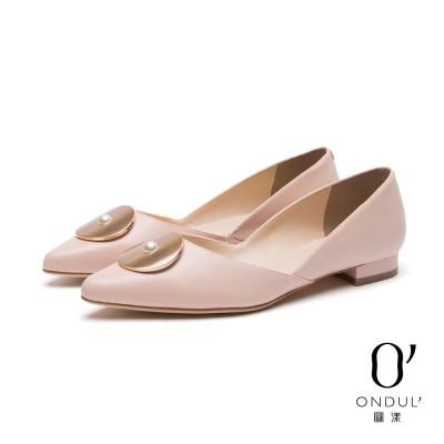 達芙妮x高圓圓 圓漾系列 平底鞋-金屬圓片珍珠鑲飾尖頭鞋-粉